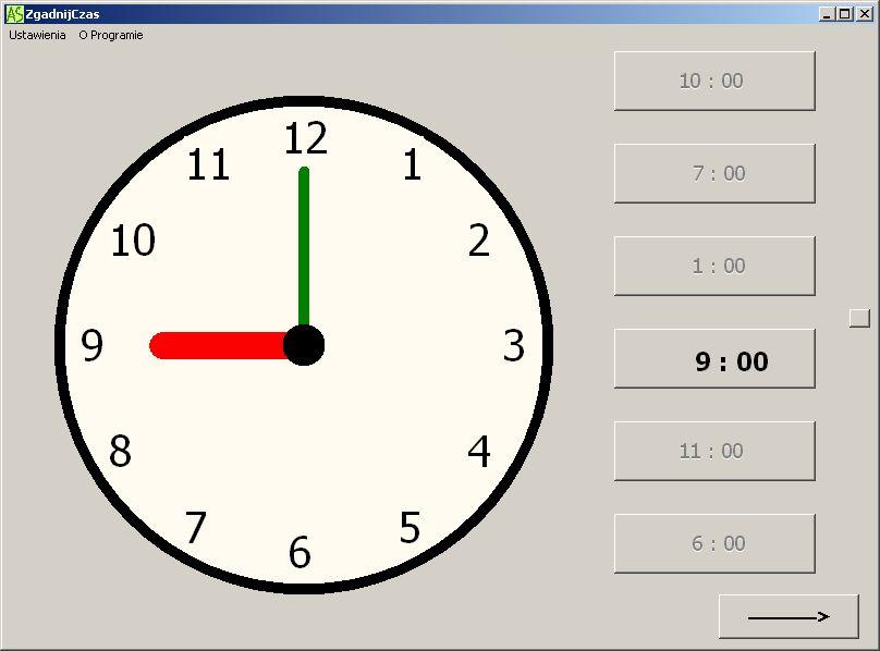 nauka posługiwania się zegarem - program komputerowy dla dziecka autystycznego